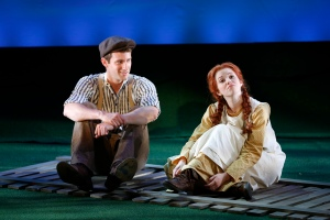 L to R: CJ PAWLIKOWSKI as Gilbert Blythe and ALISON WOODS as Anne Shirley in BEND IN THE ROAD at NYMF (Photo by Carol Rosegg)