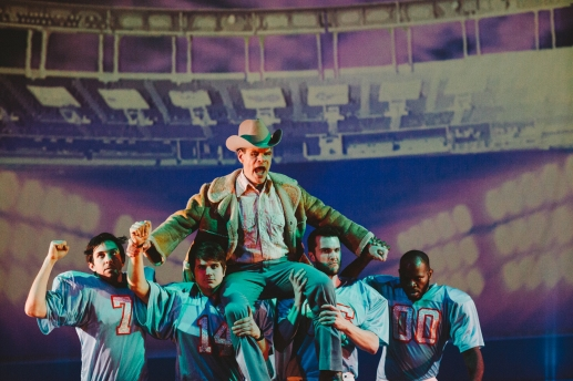 Photographer: Cory Torpie Gary Ramsey as Bum Phillips (center) and cast members of Monk Parrots' World Premiere of Bum Phillips All-American Opera.