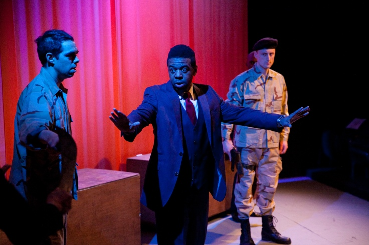 Brandon Walker (Iago), Ian Moses Eaton (Othello) and Logan Keeler (Cassio) Photo by Justin Hoch