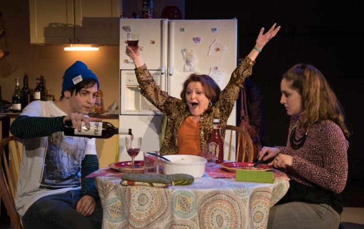 Oscar A.L. Cabrera as Gus Green, Charlotte Booker as Rebecca Green, Emma Meltzer as Lia Vaughn. Photo by Russ Rowland