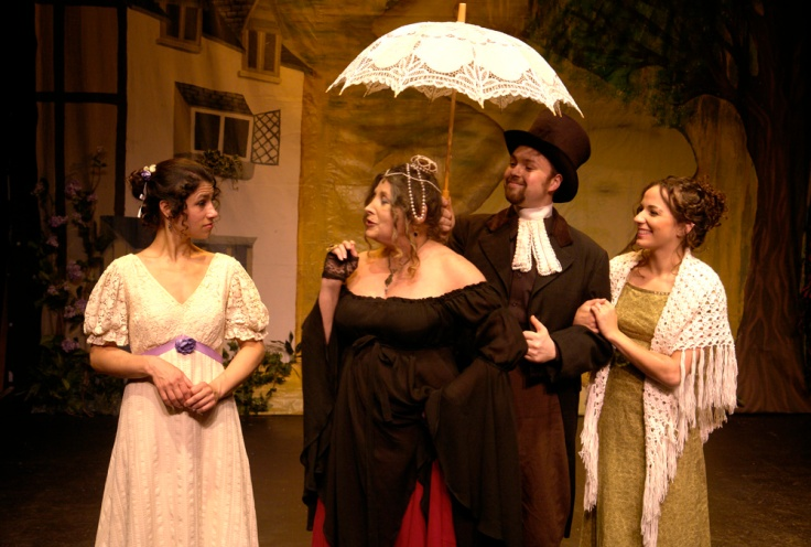 The cast of Pride and Prejudice (Amanda Yachechak, Lissa Moira, Chris Donovan, Emily Hin). Photo by Peter Welch