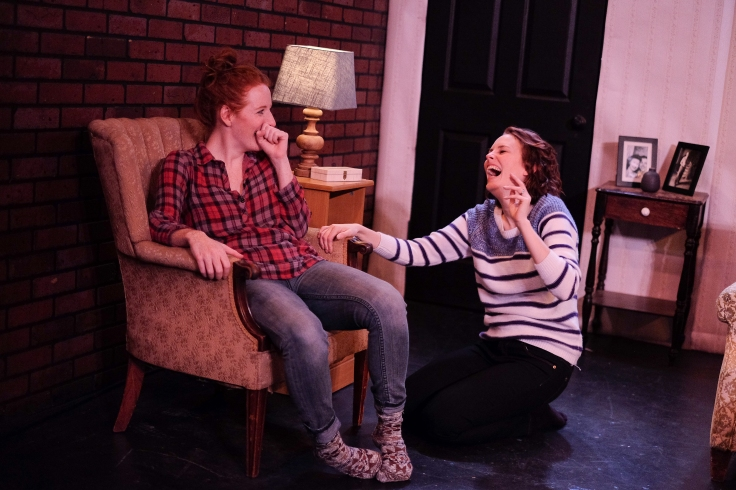 Sarah Killough & Ellen Adair are sisters in _the goodbye room_ - Photo by Colin Shepherd